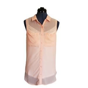 H&M Pink Sheer Button Up